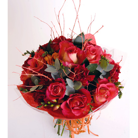 Autumn Hand Tied Bouquet Includes Roses, Carnation & Freesia Reference: HT1