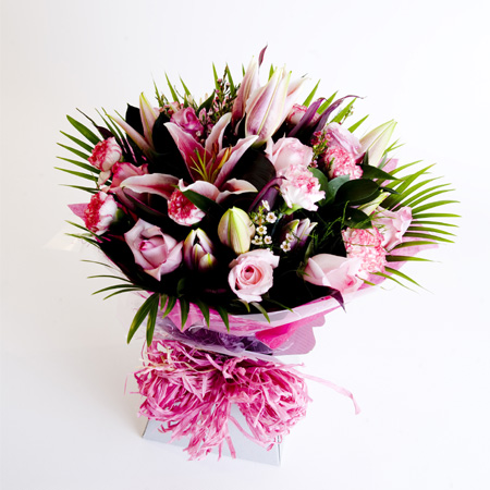 Luxury Pink Hand Tied Bouquet Including Lily, Roses & Carnation Reference: HT2