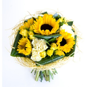 Sunny Sunflower Hand Tied Bouquet Including Sunflower, Roses & Carnation Reference: HT3