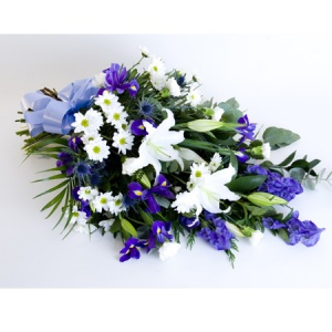 Natural Tied Sheaf Including Lily, Iris, Aconitum & Chrysanthemum Reference: SYM11