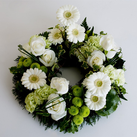 Grouped Wreath Including Roses, Gerbera, Carnation & Chrysanthemum Reference: SYM20