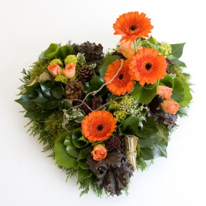 Grouped Heart Including Gerbera & Roses With Mixed Foliages Reference: SYM21